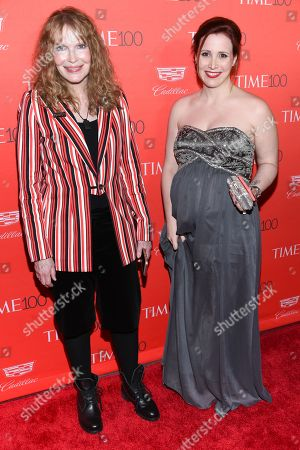 Stock Picture of Actress Mia Farrow and daughter Dylan Farrow attend the TIME 100 Gala, celebrating the 100 most influential people in the world, at Frederick P. Rose Hall, Jazz at Lincoln Center, in New York