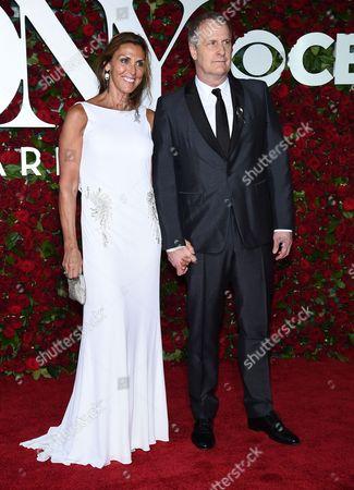 Kathleen Rosemary Treado, left, and Jeff Daniels arrive at the Tony Awards at the Beacon Theatre, in New York
