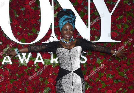 Stock Picture of Akosua Busia arrives at the Tony Awards at the Beacon Theatre, in New York
