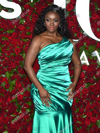 Saycon Sengbloh arrives at the Tony Awards at the Beacon Theatre, in New York