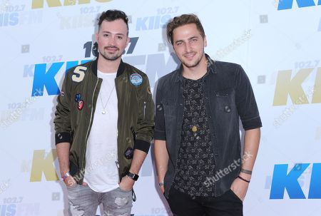 Dustin Belt, left, and Kendall Schmidt, of Heffron Drive, arrive at Wango Tango at StubHub Center, in Carson, Calif