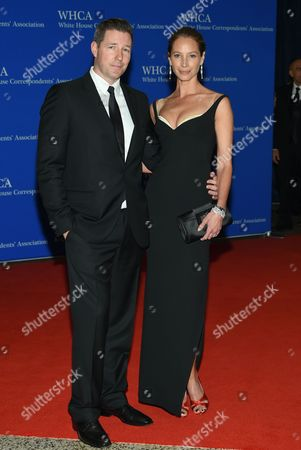 Ed Burns, left, and Christy Turlington arrive at the White House Correspondents' Association Dinner at the Washington Hilton Hotel, in Washington