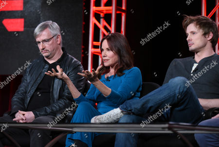 "Creator and executive producer Glen Mazzara, from left, Barbara Hershey and Bradley James participate in the ""Damien"" panel at the A&E 2016 Winter TCA, in Pasadena, Calif"