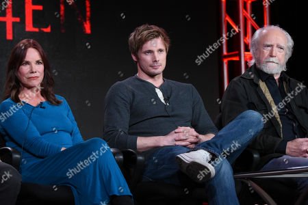 """Barbara Hershey, from left, Bradley James and Scott Wilson participate in the """"Damien"""" panel at the A&E 2016 Winter TCA, in Pasadena, Calif"""