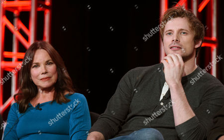 """Barbara Hershey, left, and Bradley James participate in the """"Damien"""" panel at the A&E 2016 Winter TCA, in Pasadena, Calif"""