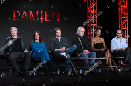 "Glen Mazzara, from left, Barbara Hershey, Bradley James, Scott Wilson, Megalyn Echikunwoke and Omid Abtahi participate in the ""Damien"" panel at the A&E 2016 Winter TCA, in Pasadena, Calif"