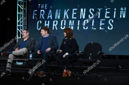 """Benjamin Ross, from left, Sean Bean and Tracey Scoffield speak during the panel for """"The Frankenstein Chronicles"""" at the A&E 2016 Winter TCA, in Pasadena, Calif"""