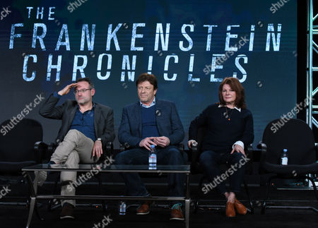 """Stock Image of Benjamin Ross, from left, Sean Bean and Tracey Scoffield speak during the panel for """"The Frankenstein Chronicles"""" at the A&E 2016 Winter TCA, in Pasadena, Calif"""