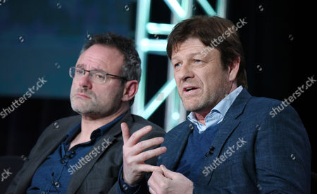 """Benjamin Ross, left, and Sean Bean speak during the panel for """"The Frankenstein Chronicles"""" at the A&E 2016 Winter TCA, in Pasadena, Calif"""