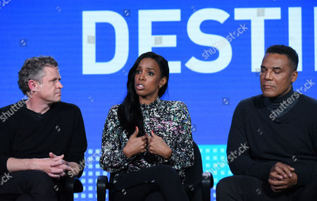 "Jason Sands, from left, Kelly Rowland and Frank Gatson Jr. participate in the ""Chasing Destiny"" panel at the BET 2016 Winter TCA, in Pasadena, Calif"