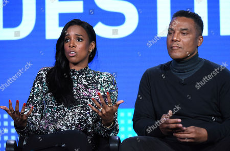 "Kelly Rowland, left, and Frank Gatson Jr. participate in the ""Chasing Destiny"" panel at the BET 2016 Winter TCA, in Pasadena, Calif"