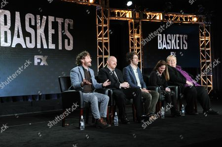 """Actor/co-creator/executive producer Zach Galifianakis, from left, co-creator/executive producer Louis C.K., co-creator/executive producer/director Jonathan Krisel, actors Martha Kelly and Louie Anderson participate in the """"Baskets"""" panel at the FX Networks Winter TCA, in Pasadena, Calif"""