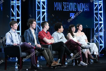 """Creator/executive producer Simon Rich, from left, executive producer Jonathan Krisel, actors Jay Baruchel, Eric Andre, Britt Lower and Rosa Salazar participate in the """"Man Seeking Woman"""" panel at the FX Networks Winter TCA, in Pasadena, Calif"""
