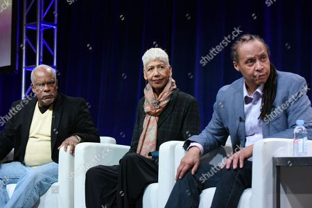 """Director Stanley Nelson Jr., from left, former Black Panther members Ericka Huggins and Jamal Joseph participate in """"The Black Panthers"""" panel at the PBS Winter TCA on Tuesday, Jan.19, 2016, in Pasadena, Calif"""