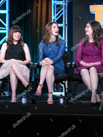 "Caitlin Barlow, from left, Katy Colloton and Cate Freedman speak during the ""Teachers"" panel at the TV Land 2016 Winter TCA, in Pasadena, Calif"