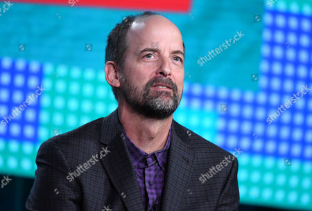 """Jay Martel speaks during the """"Teachers"""" panel at the TV Land 2016 Winter TCA, in Pasadena, Calif"""