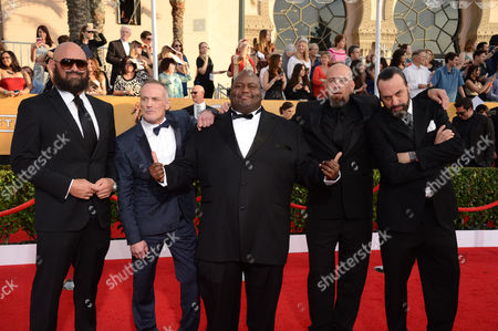 Stock Image of From left, Tait Fletcher, Michael Bowen, Lavell Crawford, Matthew T. Mezler, and Patrick Sane arrive at the 20th annual Screen Actors Guild Awards at the Shrine Auditorium, in Los Angeles
