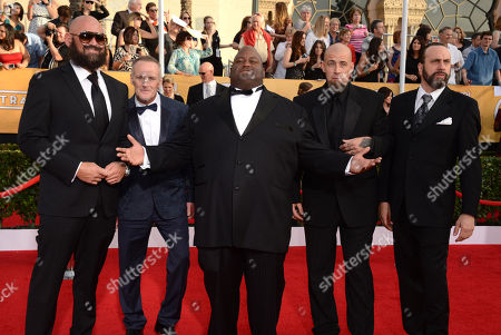From left, Tait Fletcher, Michael Bowen, Lavell Crawford, Matthew T. Mezler, and Patrick Sane arrive at the 20th annual Screen Actors Guild Awards at the Shrine Auditorium, in Los Angeles