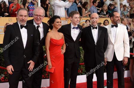 From left, Mandy Patinkin,Tracy Letts, Nazanin Boniadi, Jackson Pace, F. Murray Abraham and Navid Negahban arrive at the 20th annual Screen Actors Guild Awards at the Shrine Auditorium, in Los Angeles