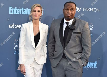 Desi Lydic, left, and Roy Wood Jr. arrive at the 22nd annual Critics' Choice Awards at the Barker Hangar, in Santa Monica, Calif