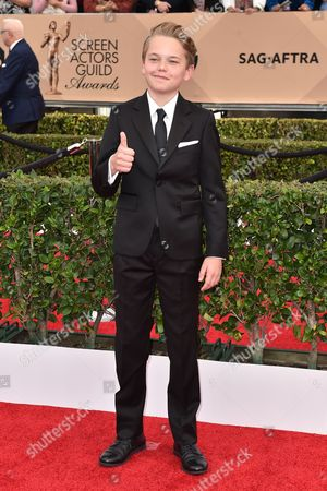 Stock Image of Mason Vale Cotton arrives at the 22nd annual Screen Actors Guild Awards at the Shrine Auditorium & Expo Hall, in Los Angeles