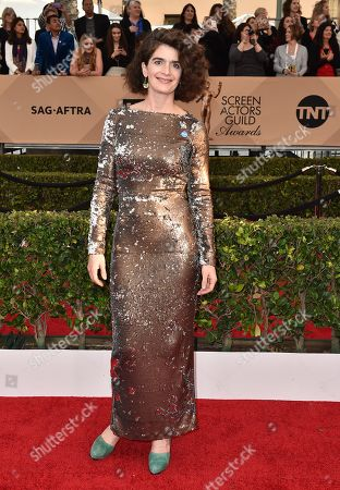 Gaby Hoffman wears a pin supporting Democratic presidential candidate Bernie Sanders as she arrives at the 22nd annual Screen Actors Guild Awards at the Shrine Auditorium & Expo Hall, in Los Angeles