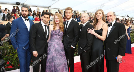Atheer Adel, from left, Rene Ifrah, Miranda Otto, Alexander Fehling, Mark Ivanir, Sarah Sokolovic, and F. Murray Abraham arrive at the 22nd annual Screen Actors Guild Awards at the Shrine Auditorium & Expo Hall, in Los Angeles