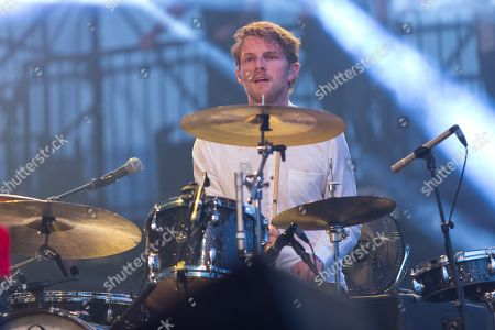 Mark Pontius of Foster the People performs on stage during the 22nd KROQ Weenie Roast held at the Verizon Wireless Amphitheater on in Irvine, Calif