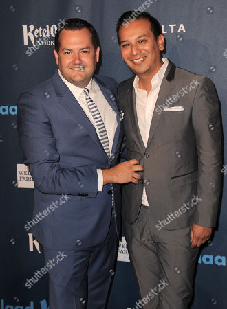 Ross Mathews and Salvador Camarena arrive at the 24th Annual GLAAD Media Awards at the JW Marriott on in Los Angeles