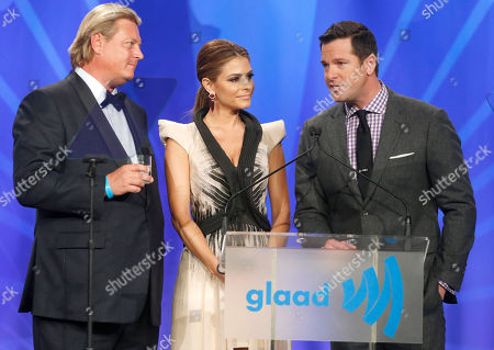 Stock Picture of 11th-generation distiller for KetelOne Vodka Carl Nolet Jr., actress Maria Menounos, and Thomas Roberts attend the 24th Annual GLAAD Media Awards at the JW Marriott on in Los Angeles