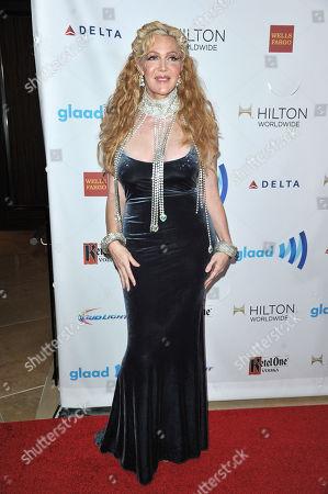 Calpernia Addams arrives at the 25th Annual GLAAD Media Awards on