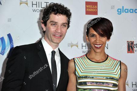 James Frain, left, and Marta Cunningham arrive at the 25th Annual GLAAD Media Awards on