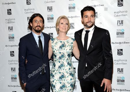 Director Josh Mond, left, actress Cynthia Nixon and actor Christopher Abbott attend The Independent Filmmaker Project's 25th Annual Gotham Independent Film Awards at Cipriani Wall Street, in New York