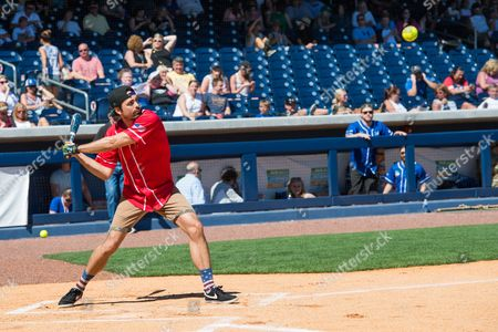 Barry Zito gets a hit at the 26th Annual City of Hope Celebrity Softball Game at First Tennessee Park on in Nashville, Tenn