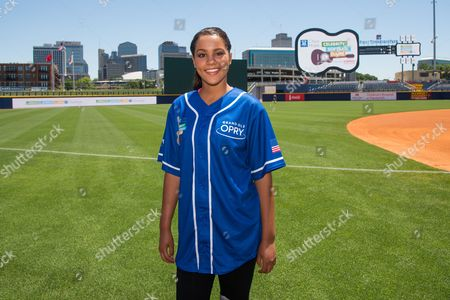 Stock Photo of Tristan McIntosh poses at the 26th Annual City of Hope Celebrity Softball Game at First Tennessee Park on in Nashville, Tenn