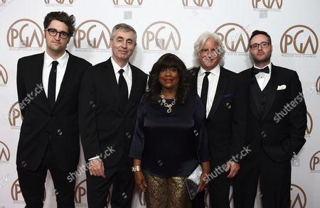 Garrett Basch, from left, Steve James, Chaz Ebert, Mark Mitten, and Zak Piper arrive at the 26th Annual Producers Guild Awards at the Hyatt Regency Century Plaza, in Los Angeles