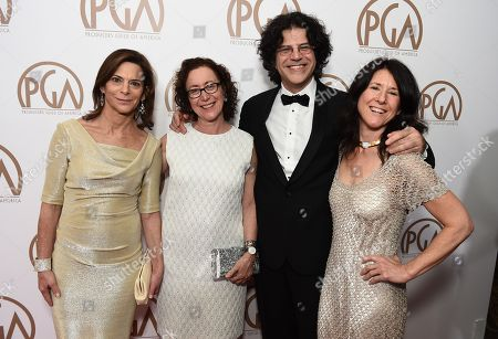 Carla Solomon, from left, Andrea Miller, David Kaplan, and Melora Kaplan arrive at the 26th Annual Producers Guild Awards at the Hyatt Regency Century Plaza, in Los Angeles