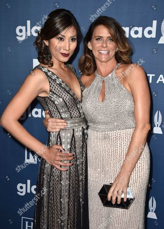 Rain Valdez, left, and Amy Landecker arrive at the 27th Annual GLAAD Media Awards at the Beverly Hilton, in Beverly Hills, Calif