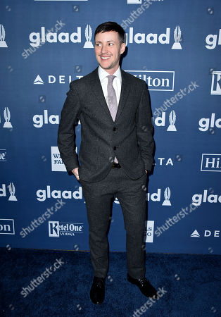 Rhys Ernst arrives at the 27th Annual GLAAD Media Awards at the Beverly Hilton, in Beverly Hills, Calif