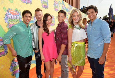Stock Photo of Azim Rizk, and from left, Cameron Jebo, Christina Masterson, Andrew Gray, Ciara Hanna and John Mark of the Loudermilk of Mighty Morphin Power Rangers arrive at the 27th annual Kids' Choice Awards at the Galen Center, in Los Angeles