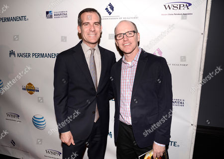 Stock Picture of Los Angeles Mayor Eric Garcetti, left, and Greg Fitzsimmons arrive at the 2nd Annual California Fire Foundation Gala at Avalon Hollywood, in Hollywood, Calif