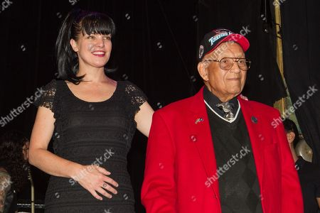 Actress Pauley Perrette and Lt. Col. Bob Friend, the oldest living Tuskegee Airman,on stage during the 2nd Annual Heroes Helping Heroes Benefit Concert at The House of Blues on in Los Angeles