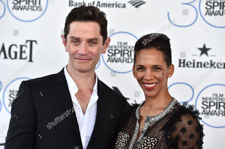 Marta Cunningham, right, and James Frain arrive at the 30th Film Independent Spirit Awards, in Santa Monica, Calif