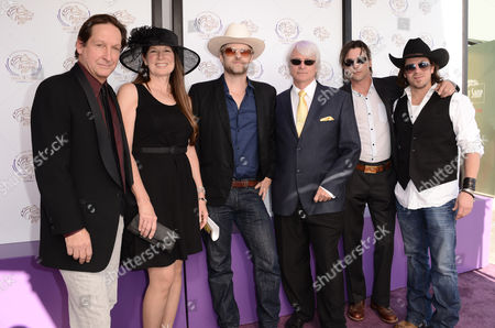 From left, Jim Wilson, Faith Conroy, Todd Lowe, Bruce Wayne Eckelman, Skeet Ulrich, and Christian Kane are seen at the 30th Running of the Breeders' Cup World Championships Day 2, on in Arcadia, Calif