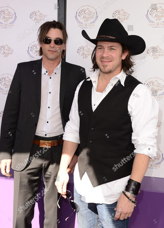 Skeet Ulrich, left, and Christian Kane are seen at the 30th Running of the Breeders' Cup World Championships Day 2, on in Arcadia, Calif