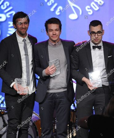 From left, Andrew Dost, Nate Ruess, and Jack Antonoff of the musical group Fun accept the Vanguard Award at the 31st Annual ASCAP Pop Music Awards at the Loews Hollywood Hotel, in Los Angeles