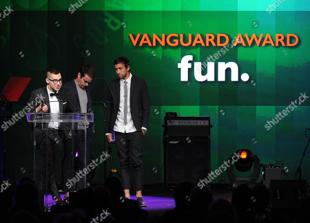 From left, Jack Antonoff, Nate Ruess, and Andrew Dost of the musical group Fun accept the Vanguard Award at the 31st Annual ASCAP Pop Music Awards at the Loews Hollywood Hotel, in Los Angeles