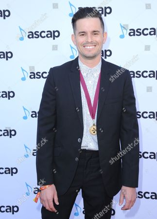 Stock Picture of Nolan Sipe, award winner for Honey, I'm Good by Andy Grammer, arrives at the 33rd annual ASCAP Pop Music Awards at the Dolby Ballroom, in Los Angeles