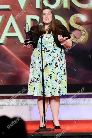 Kimberly Snyder of Carlow University accepts the Mister Rogers Scholarship, New Media-Grable Foundation, onstage at the 34th College Television Awards presented by the Academy of Television Arts & Sciences Foundation at the JW Marriott Los Angeles L.A. Live on in Los Angeles, California