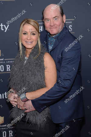 David Koechner, left, and Leigh Koechner arrive at the 3rd annual NFL Honors at Radio City Music Hall, in New York